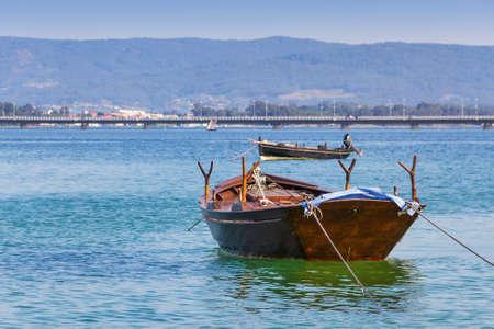 Anchored fishing boats in Arousa Island