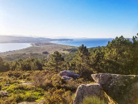 Aerial view of La Lanzada isthmus from Siradella mount in O Grove town