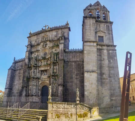 Facade and bell tower of Saint Mary the Major plateresque style basilica in Pontevedra city
