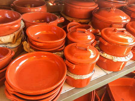 Traditional clay pots for sale in Valenca do Minho, Portugal