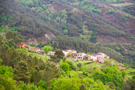 Mountain village between forests in Galicia, Spain