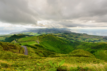 Panoramic landscape from Azores. The Azores archipelago has volcanic origin and the island of Sao Miguel has many lakes fand is the best travel destination of Portugal.