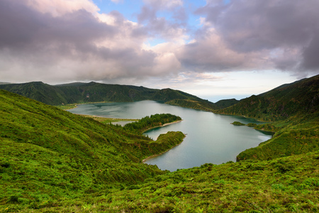 Panoramic landscape from Azores lagoons. The Azores archipelago has volcanic origin and the island of S