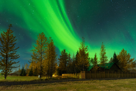 Northern Lights over the farmer in Iceland. Aurora Borealis in an amazing nightscape. Travel destination with beautiful green lights landscape.