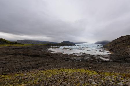 Frozen landscape at a drainglacier of the large glacier vatnajokull glacier, Iceland. Glacier provides water Ice Lagoon Jokulsarlon.