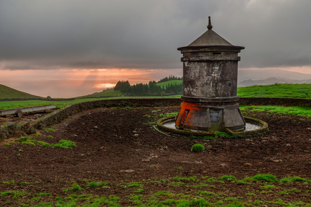 Azores, Portugal. Outdoor natural landscape at sunrise. Amazing tourist attraction and one of the top holiday destinations.