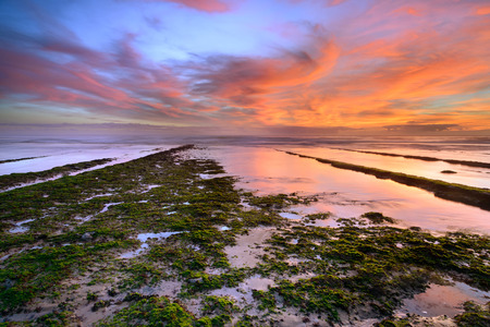 Amazing sea landscape at sunset. Seascape on beach of coast of portugal. outdoor colorful natural landscape with clouds in the sky, Cascais, Lisbon.