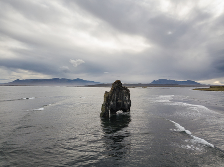 Icelandic landscape. Seascape of the Majestic Hv?tserkur on Vatnsnes peninsula in North West Iceland. Aerial photography captured by drone.