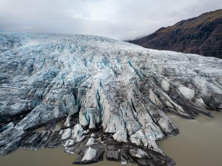 Bird eye view, aerial panoramic view. Flaajokull Glacier, Skaftafell, Vatnajokull National Park, Iceland.Aerial photography captured by drone.