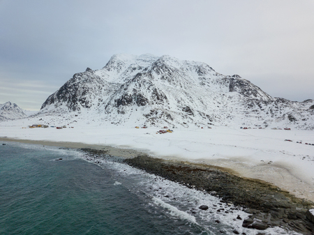Aerial drone panoramic view of amazing Lofoten Islands. Top view picture at sunset. Winter landscape with famous nordic landscape in Norway, Scandinavia.