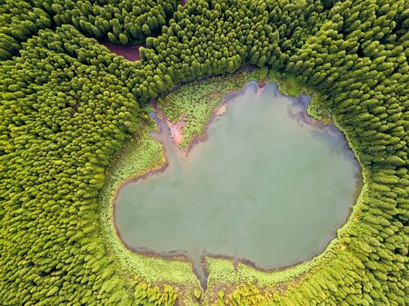 Top down aerial view of a small pond in the middle of a forest, reflecting clouds in the sky. Bird view of Canary Lagoon in Azores, Portugal. 版權商用圖片 - 129591083
