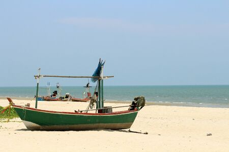 huahin: boat on the beach at Huahin in Thailand