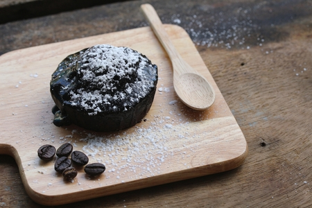 molted: Dark chocolate lava cake in plate