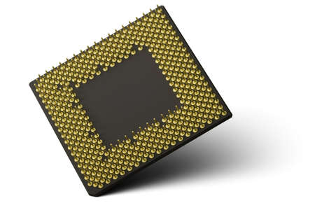 CPU Processor. A computer processor balancing on one corner and isolated on a white background.