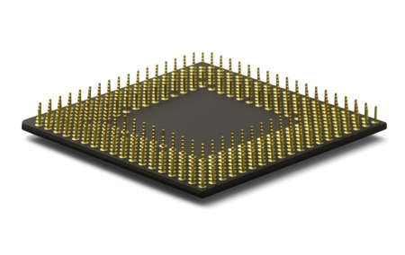 CPU Processor. A computer processor laying flat and isolated on a white background.