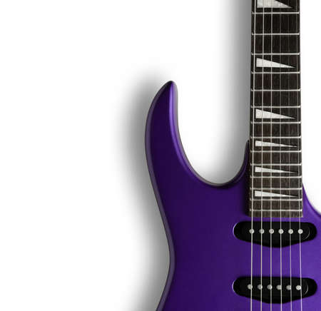 rock music: Electric Guitar. Close-up of a purple electric guitar on a white background.