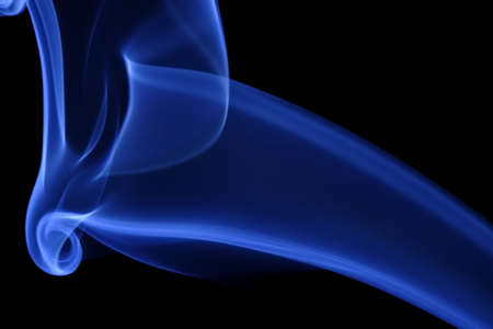 Blue Smoke 11. Abstract curves of blue smoke on a black background. Stock Photo