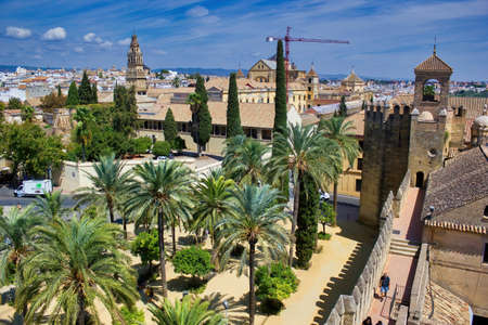 Cordoba, Spain - September 02, 2015: Wide angle view of Alcázar de los Reyes Cristianos (Castle of the Christian Monarchs) located in a region of Andalusia Publikacyjne