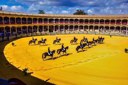 Ronda, Spain - September 06, 2015: Horse show during Feria season in Andalusia celebrating spectacular Pedro Romero Festival, a celebration that culminates in a prestigious bullfight. Stock Photo