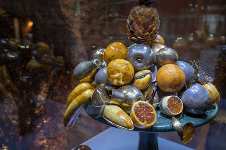 Gdansk, North Poland - August 13, 2020: A demonstrative artificial model of fruits made of amber famous in baltic city