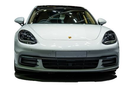 Thailand, BANGKOK - 23 October 2018: Isolated in white background of Porsche Cayman model 2018 . Porsche AG is a German automobile manufacturer specializing in high-performance sports vehicles. Editorial