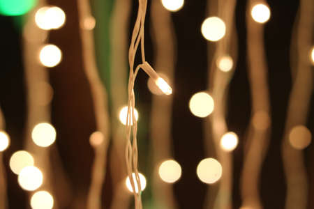 Bunch of small lights hanging on string for decoration in wedding, part. Stock fotó