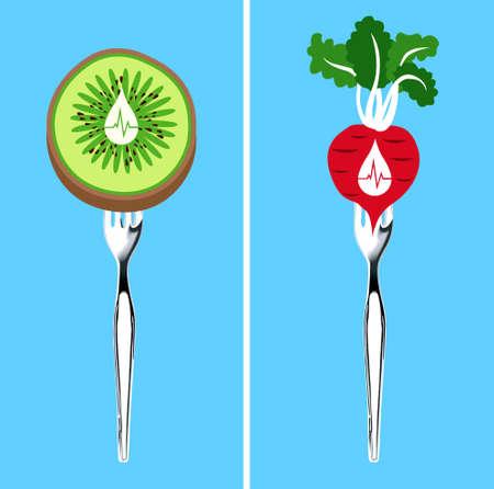 Vectoe of food that lower blood pressure  Vector