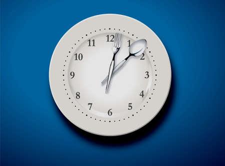 vector illustration of a set table and time for lunch  Ilustração