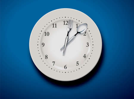 hands  hour: vector illustration of a set table and time for lunch  Illustration