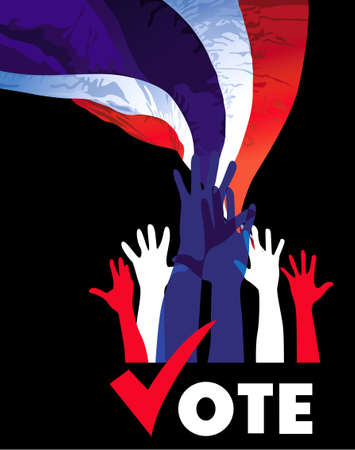 vote  Hands of many Thai people expressing their decision  vector Vector