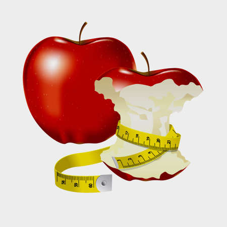 wrapped around: Measuring tape wrapped around red apple as a symbol of diet