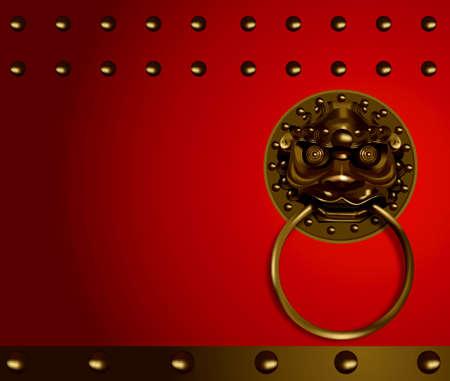 Vector of chinese lion head Banco de Imagens - 29655112