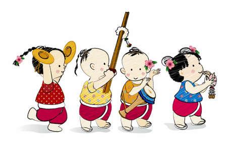 lanna: Cartoon characters Thai children,Thai style dance Illustration