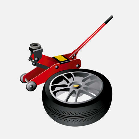 hydraulic: Red Hydraulic Floor Jack  and  tire