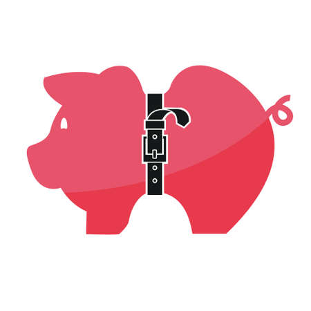 starving: Concept, Pink piggy bank with tight belt isolated on white