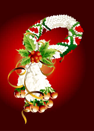 An Illustration of Beautiful Flower Garland with White Jasmine Flowers and Red Roses Blossoms, The Garland in Thai Tradition Style, Christmas concept  Vector