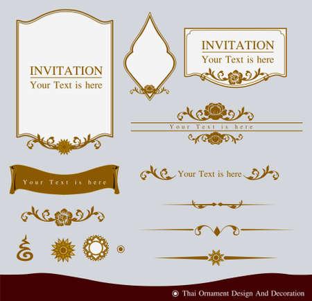 Vector conjunto de diseño del ornamento tailandés y decoración