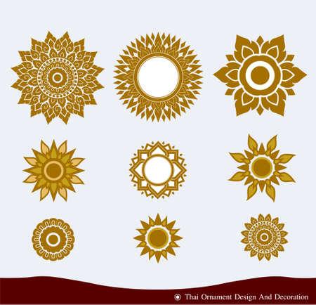 Vector set of Thai ornament design and decoration