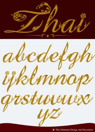 typography signature: Tailandesa caligr�fica del alfabeto Conjunto Cuatro Vectores