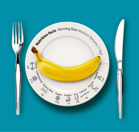 dieting: banana on white plate with nutrition facts, concept for healthy eating or dieting