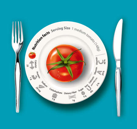 dieting: tomato on white plate with nutrition facts, concept for healthy eating or dieting Illustration