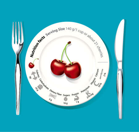 dieting: cherry on white plate with nutrition facts, concept for healthy eating or dieting Illustration