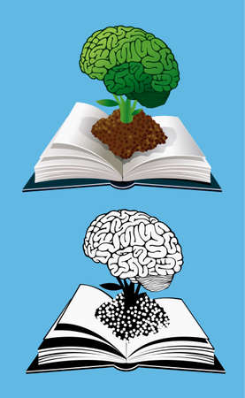 creativity concept: Open book with a glowing brain - knowledge and creativity concept