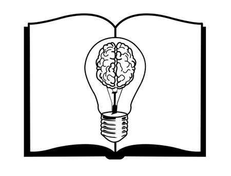 Inspiration concept. lamp brain on book black and white color Illustration