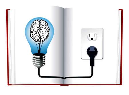 wide open: Idea and knowledge concept design.Blue light bulb on open book