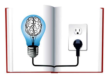 knowledge concept: Idea and knowledge concept design.Blue light bulb on open book