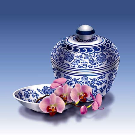 Chinees porselein met orchidee op een blauwe achtergrond Stockfoto - 31070933