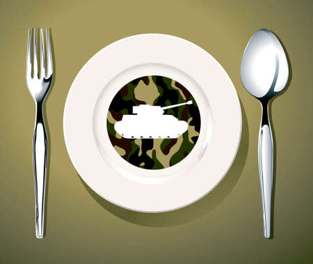 curfew: illustrator of Army sign on white plate with fork and knife corruption concept