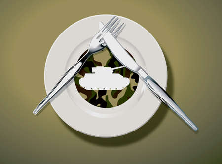 Illustrations, and Vector Art concept. Army pattern and tank graphic on white dish with knife and fork put on dish. symbol of meaning Do not like. Vector