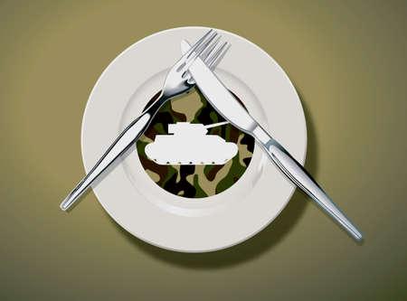 batallón: Ilustraciones y concepto de arte vectorial. Patrón Ejército y gráfico del tanque en un plato blanco con cuchillo y tenedor en el plato put. símbolo de significado no me gusta.